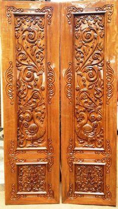 Wooden Front Door Design, Double Door Design, Wooden Front Doors, Main Door Design, Wood Doors, Wood Glass Door, Door Design Images, Temple Design For Home, Home Decor Hooks