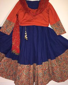 Gorgeous navy blue south cotton gopi skirt that flares beautifully, 40 panels, with a contrasting kalamkari border in orange tones, matching stylish Indian Attire, Indian Wear, Indian Outfits, Choli Designs, Bridal Blouse Designs, Lehenga Crop Top, Navratri Dress, Kids Lehenga, Saree Models