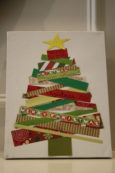 Christmas DIY: this version uses sc this version uses scrap book paper on canvas but could do a smaller version and use pieces of old christmas cards! love to recycle holiday greetings :) Old Christmas, Homemade Christmas, Christmas Holidays, Christmas Ornaments, Simple Christmas, Recycled Christmas Cards, Recycled Christmas Decorations, Decoration Christmas, Christmas Design