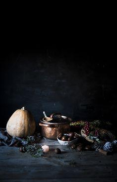 Fettuccine con zucca, porcini e castagne- Fettuccine with pumpkin, porcini mushrooms and chestnuts - Frames of sugar-Fotogrammi di zucchero