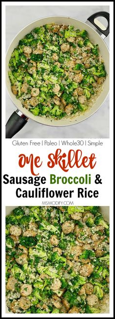 One Skillet Sausage Broccoli & Cauliflower Rice- healthy gluten free paleo simple - MsModify Best Gluten Free Recipes, Whole Food Recipes, Basil Health Benefits, Fitness Models, Female Fitness, Gluten Free Living, Broccoli Cauliflower, Skillet, Whole30