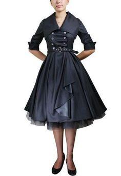 Belted Flared Dress $57.95 AT vintagedancer.com