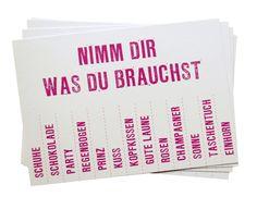 Postkarte 'Nimm Dir was Du brauchst' // Postcard 'Get yourself what you need' by…