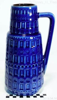 """This blue is to die for. West Germany Mid Century Cobalt Blue Pottery Vase 10"""" Beer Stein Tankard 416-26"""