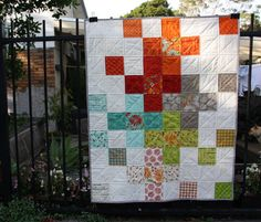 Modern baby quilt Bits and Bobs Rainbow and by LittleLollyQuilts