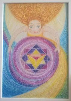 Merkaba Angel, Art by Ivana Axman www.ivanaaxman.com #goddess #merkaba #fairies #mood #pagan #wicca #symbols