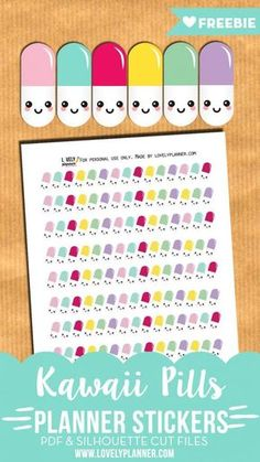 FREE Kawaii Pills Printable Planner Stickers to decorate your planner and remind you to take your vitamins or prescriptions - more than 130 stickers. PDF and Silhouette cut files included. To Do Planner, Cute Planner, Budget Planner, Planner Pages, Happy Planner, Planner Ideas, Planner Diy, Planner Supplies, Silhouette Cameo