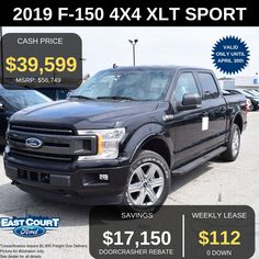 Stock# 04.11 - 9F1583  $0 DOWN, Loaded with XLT SPORT PACKAGE (302A) which has powerful 2.7L Ecoboost Engine and:  >Voice Activated NAVIGATION  >Mirror Dual Power Glass  >Backup Camera with Large screen  >POWER Sliding Rear Window  >Rear Defroster  >Trailer Tow Package  >Reverse Sensing System  >REMOTE START System  >110V/400W Power Outlet Ford Employee, 20 Wheels, Car Deals, 2019 Ford, Backup Camera, Car Ford, Rear Window, Ontario, 4x4
