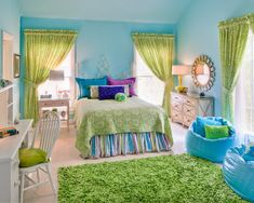 Tween Rooms Design, Pictures, Remodel, Decor and Ideas - love the beanbag seats and the colors
