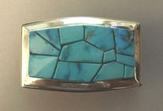 "Buckle - Sterling Silver and Natural Morenci Turquoise by Michael ""Na Na Ping"" Garcia (Pascua Yaqui) Turquoise Jewelry, Turquoise Bracelet, Vintage Belt Buckles, Navajo Jewelry, Bolo Tie, Native American Jewelry, Belts, Passion, Sterling Silver"