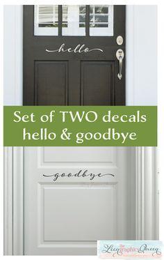 hello and goodbye door decals