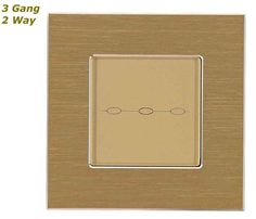 GLSTouch Designer Gold Brushed Aluminium Touch Light Switch (On/Off) 3 Gang 2 Way