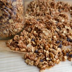 "Peanut Butter Chocolate Chip Granola~This granola is more of a treat than a ""cereal,"" but with so many healthy elements you'll feel good about treating yourself to this sweet, nutty granola."