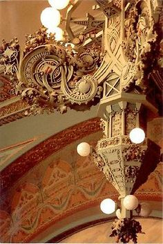 This detail is from Louis Sullivan's National Farmers Bank in Owatonna, Minnesota. Decorators Supply Corp made plaster mouldings for Sullivan's Van Allen Building in Clinton, Iowa. Amazing Architecture, Architecture Details, Interior Architecture, Interior And Exterior, Frank Lloyd Wright, Arabesque, Art Nouveau, Louis Sullivan, Wood Stone