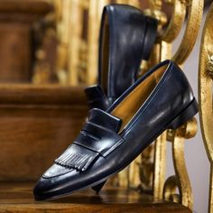 SUPERGLAMOUROUS | Timeless. Cesar Nappa Navy Loafers available...