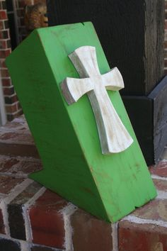 Green Rustic Knife Holder with White Cross by GraceFlowsFreely, $25.00