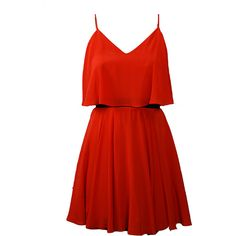 Lavender Brown Blood Orange Mini Dress ($240) ❤ liked on Polyvore featuring dresses, vestidos, short dresses, red, orange silk dress, flounce dress, red mini dress and orange mini dress