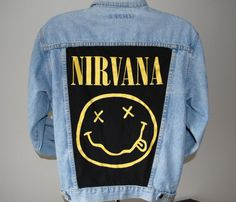 Vintage Denim Jacket with a Hand-Cut and Sewn Nirvana Back Patch Punk DIY Style