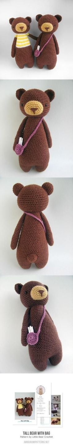 Tall Bear With Bag Amigurumi Pattern- love the long body/short legs Crochet Amigurumi, Crochet Teddy, Crochet Bear, Cute Crochet, Crochet For Kids, Amigurumi Patterns, Crochet Animals, Crochet Crafts, Crochet Dolls