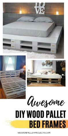 Why spend your hard-earned money on a bed frame when you can upcycle instead? You'll save a lot of money by building a pallet bed frame yourself. The best part is that if you don't have the right tools or enough skills, there are plenty of tutorials online to guide you through the process! In today's article, we share 15 awesome pallet bed frames for your next project. So get ready to grab those old wooden boards from your garage and start crafting! Wood Pallet Beds, Pallet Bed Frames, Diy Pallet Bed, Wooden Pallet Projects, Wooden Pallets, Bedroom Themes, Kids Bedroom, Bedroom Decor, Table Storage