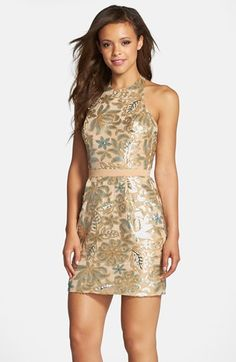 Dress the Population 'Scarlett' Sequin Chiffon Halter Dress available at #Nordstrom @dittpete other color though
