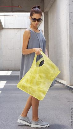 Leather bag Crazy Yellow Mustard - желтый, сумка из кожи, Кожаная сумка, большая сумка
