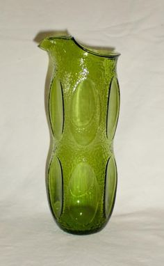 Vintage Avocado Crinkled Glass with Flat Panels Carafe Rolled Lip Glass Pitchers, Crackle Glass, Crinkles, Carafe, Avocado, Lips, Vase, Flat, Green