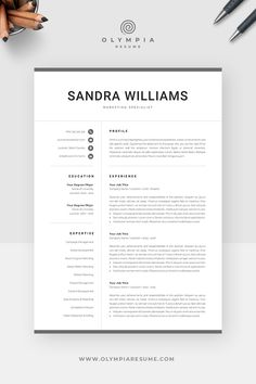 Professional Resume Template for Word Creative Cv Template, One Page Resume Template, Modern Resume Template, Cover Letter For Resume, Cover Letter Template, Resume References, Create A Resume, Microsoft Word 2007, Professional Resume