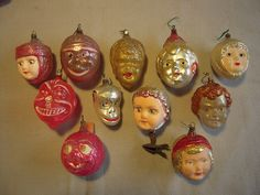 Antique glass Christmas ornaments.
