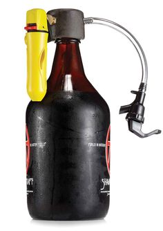 The TapIt Cap screws onto a growler and prevents beer from going flat after the bottle is opened. To fill a glass, a user injects carbon dioxide from an attached canister and releases the spigot. A pressure-release valve keeps the growler from bursting. More Beer, Wine And Beer, Beer Brewing, Home Brewing, Vodka, Whisky, Beer Growler, Gadgets, Brewing Equipment