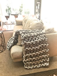 Hand knit sofa throw monsoon grey                                                                                                                                                                                 More