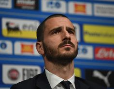 Leonardo Bonucci of Italy speaks with the media during a press conference at Wembley Stadium on March 26, 2018 in London, England.