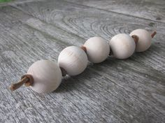 Grasping Beads, Wood and Leather Teether