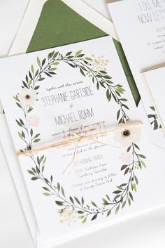 Watercolor Wreath Greenery Wedding Invitation: by twigandjuniper | mysweetengagement.com