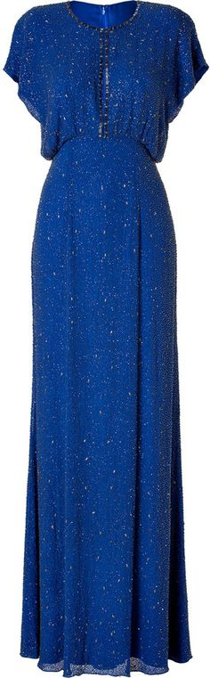 Jenny Packham Silk Sequined Gown in Montera $4,395.00 thestylecure.com