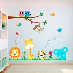 Adesivo Decorativo Infantil Safari (1,45x1,20cm) Church Nursery Decor, Nursery Room Decor, Kids Bedroom, School Wall Decoration, School Decorations, Baby Decor, Kids Decor, Deco Jungle, Boy Room