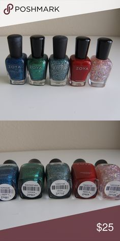 Zoya nail polish bundle - Zoya PixieDust Liberty - Zoya Ivanka - Zoya PixieDust Vega - Zoya Rekha - Zoya Monet None have been used or swatched.  No trades, Reasonable offers only Zoya Makeup