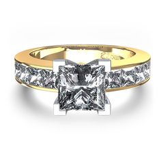 OMG! Love this yellow gold princess cut engagement ring.  LOVE!