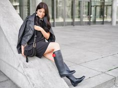 Wellies Rain Boots, Black Rain Boots, Rainy Day Fashion, Equestrian Outfits, Leggings, Rain Wear, High Heel Boots, Hunter Boots, Over The Knee Boots