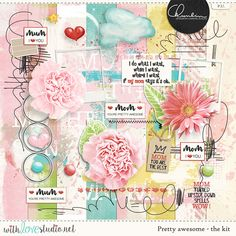 Pretty Awesome - digital scrapbooking kit by Chunlin Designs. Delicate colors and rough scribbles at the same time, perfect combination to scrap about the moms in our lives.