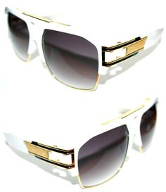 95b9da77f85 Men s Women s Design Sunglasses Grandmaster Four Hip Hop White Gold 2060