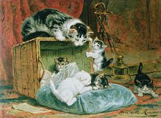Cat Painting - Playtime by Henriette Ronner-Knip