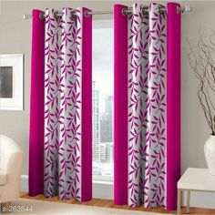 Pink Eyelet Polyester Curtain Door Length (Set of 2 Pcs) 84 Interior Design Furniture, Layered Curtains, Stylish Curtains, Curtains, Curtain Decor, Door Curtains, Beautiful Curtains, Home Decor, Curtains Yellow And Blue