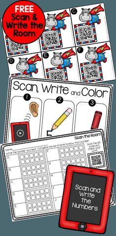 Hippo Scan and Write the Numerals - Preschool Math, Math Classroom, Kindergarten Math, Teaching Math, Classroom Ideas, Classroom Resources, Math Stations, Math Centers, Math Games