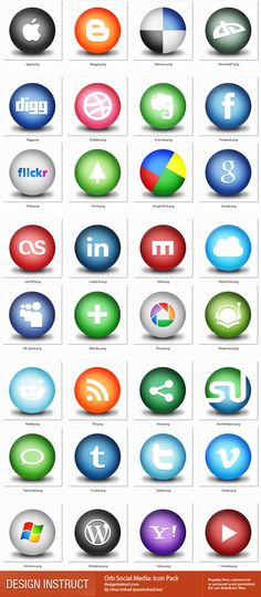 """This icon set, perfect for blogs and social-centered sites, has 32 different icons for popular web services such as Digg, StumbleUpon, Facebook, Twitter, and even icons for Apple, Windows, Evernote, and much more. Each icon is 256×256px and in PNG format, which can be resized down to your needs.  -- File format: PNG  Size: 256×256px  Licensing: Free for commercial and personal projects under Freebie Files Usage Terms  Limitation of use: Do not sell files or redistribute files"""
