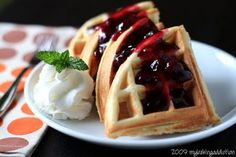 Vanilla Bean Waffles With Homemade Blueberry Sauce
