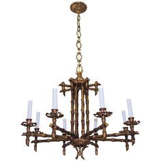 Vintage Faux Bamboo Pagoda Chandelier 8-Lights