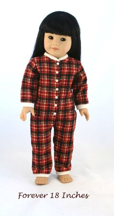 Made with the Drop-Seat Jammie Pattern, available from http://www.pixiefaire.com/products/drop-seat-jammies-18-doll-clothes