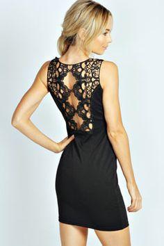 Rozie Lace Back Diamante Trim Bodycon Dress at boohoo.com