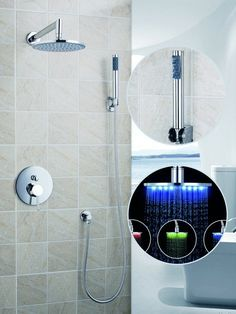 92.47$  Buy here - http://ali60m.worldwells.pw/go.php?t=32361225599 - 50244-42A Luxury 8-inch Round 3 Color LED Shower Head Wall Mount Rainfall Bathroom Double-function Shower Faucet Set , Chrome